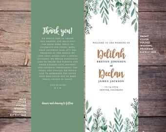 Greenery Wedding Program, Printable, Green Foliage, Watercolor Wedding Program, Garden Wedding, Print at Home, Digital Files - Delilah
