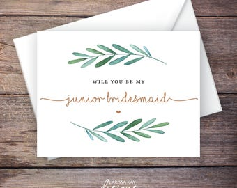 Printable Green Garden Will You Be My Junior Bridesmaid Card, Greenery, Instant Download Card, Be My Jr. Bridesmaid, Wedding Card – Waverly