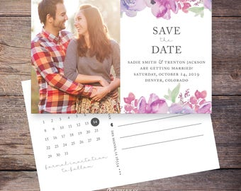 Flower Watercolor Save the Date Postcard, Floral, Save-the-Date Card, Postcard, Invite, Invitation, DIY Printable, Digital File - Sadie