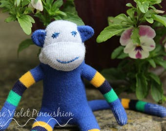 Blue Stripey Sock Monkey