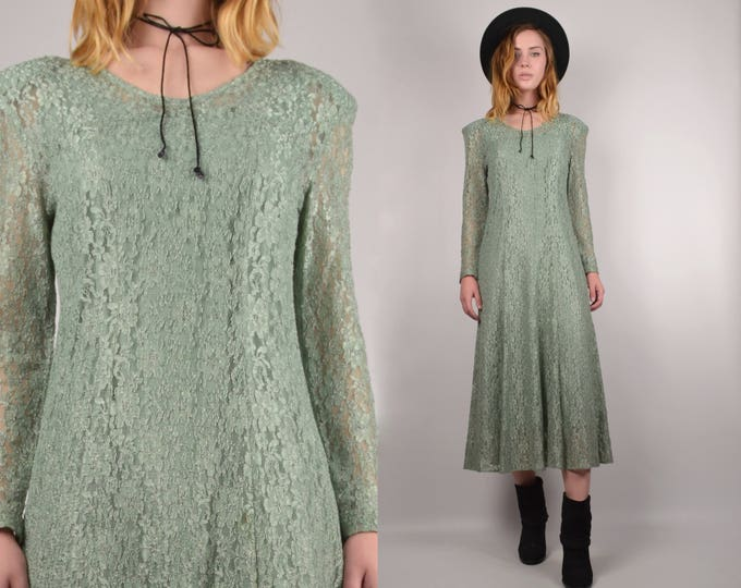 20% OFF  SALE Vintage Fern Green Lace Midi Dress
