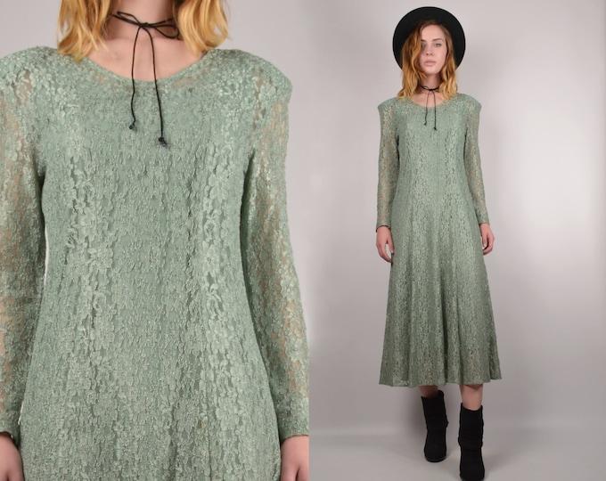 SALE Vintage Fern Green Lace Midi Dress
