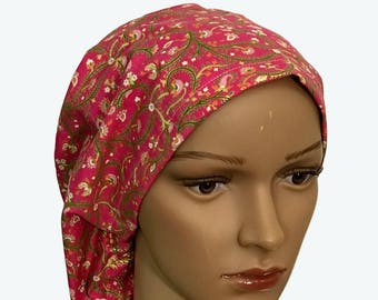 Euro Scrub Hat - Beautiful Flowers and Intricate Metallic on Dark Pink Scrub Hat for women - Slouchy hat with Pink and Colorful Gold Flowers