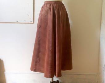 Taffeta stripe skirt - part circle skirt - 50s - 1950s - high  waist