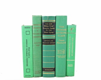 Emerald Green Books, Old Decorative Books, Book Set Decor,  Rustic Book Lover, Old Book Collection Wedding Centerpiece, farmhouse decor
