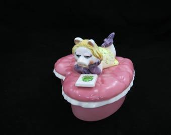 Miss Piggy Ceramic Heart Box - Sigma Muppets Ceramic - Miss Piggy Trinket Box - Muppets Memorabilia - Free Shipping - 6PTT17