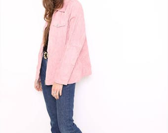 Vintage 90s Pink Cord Corduroy Clueless Jacket. XL. UK 18/20.