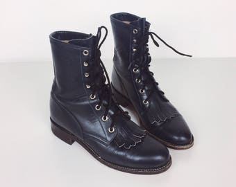 Vintage Navy Blue Leather Lace Up Roper Combat Western Justin Boots // Womens 5.5 6