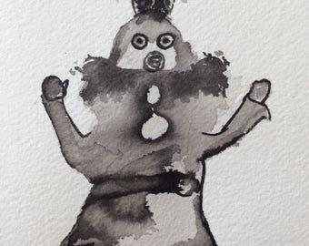 Original outsider art brush and ink drawing Kachina