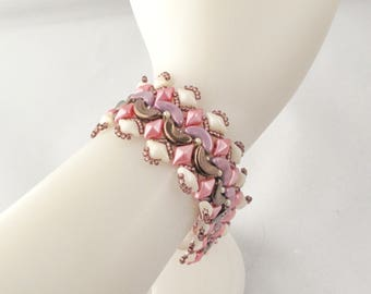 Arcos Reflections Bracelet in Bronze Purple Pink and Champagne with Copper Claddagh Toggle Clasp