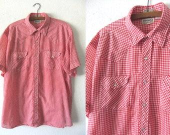 Red Gingham Checked Western Shirt - Picnic Blanket Plaid 80s Short Sleeve Snap Button Cowboy Shirt - Mens XL