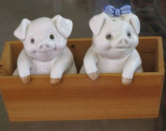 Vintage Fitz and Floyd Boy and Girl Pig Salt and Pepper Shakers