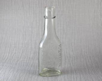 Small Vintage Bottle Kepier Products Leeds Clear Glass