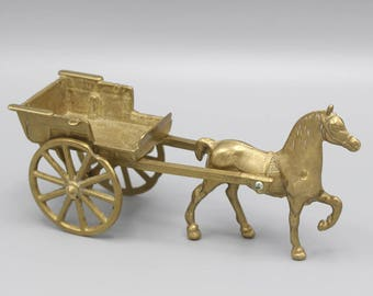Small Freestanding Solid Brass Horse and Cart Pony and Trap Ornament
