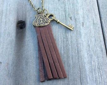 Brown Tassel Necklace/Long Necklace/Boho Necklace/Modern Necklace