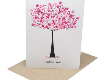 Thank You Card - Pink Cherry Blossom Tree - THY024 / Card Thank You