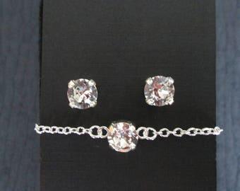 Small Swarovski Crystal Bridesmaid Set/Clear Crystal Junior Bridesmaid Jewelry/ Flower Girl Jewelry/Swarovski Bracelet/Swarovski Studs