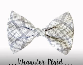 Gray and White Plaid Dog Bow Tie; Dog Collar BowTie Attachment: Wrangler Plaid