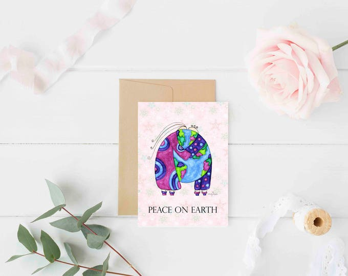 "Featured listing image: Greeting Card ""Peace on Earth"" / Christmas Holiday / Wedding Bridal Anniversary / Baby Shower Couple Hugs the World  / Print at Home Artwork"