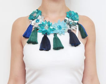 Leather statement necklace. Flower necklace. Tassel jewelry. Natural leather necklace. Couture necklace.Silver blue leather. /PIECE OF SKY