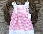 Girls Pink Gingham Dress,  Little Girls Dress, White Eyelet dress, Party Dress, Birthday Dress