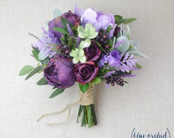 Wedding Flowers Purple Bouquet Bridal Silk