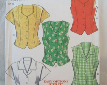 Five Easy Blouse or Tops New Look Pattern 6487 Sizes 12-24 Uncut Pattern