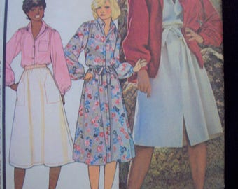Misses' Buttoned Dress or Shirt 1970s McCall's Pattern 6152 Cut Size 12 Bust 34""