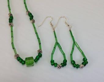 Green Chocker Necklace & Earring Set