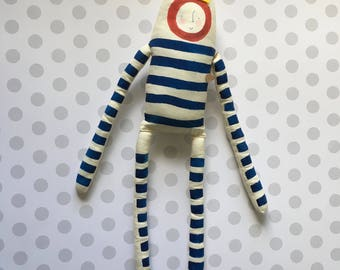 One left in stock! Oscar the King in Blue - Handmade Plush - Striped Painted Art Doll - Ready to Ship softie - children's toy