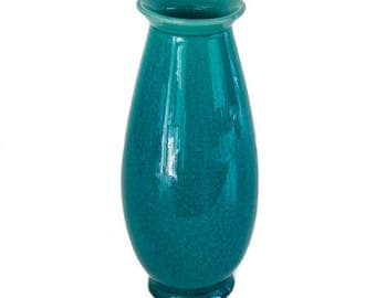 Large Teal Glass Vase