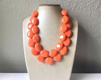 Clementine Chunky Statement Necklace, Big beaded jewelry, Double Strand Statement Necklace, Bib necklace, orange bridesmaid wedding, praline