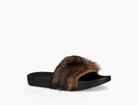 Custom Crystal Slippers UGG Australia Royale Camel fur Brown Toscana Slide Slipper w/ Swarovski Jewel Wedding Flip Flop Slip On Shoe