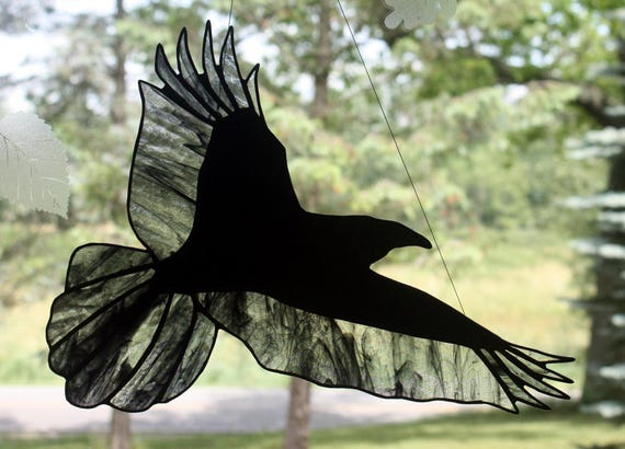 Stained Glass Raven