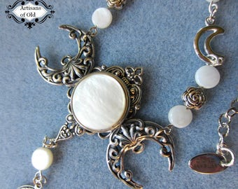 Mother of Pearl Triple Moon Necklace, Triple Goddess, Wiccan