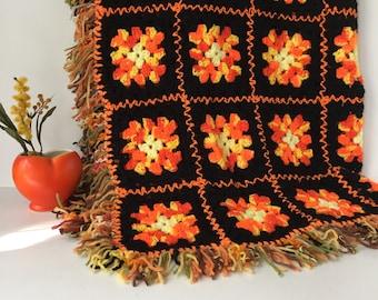 Granny Square Afghan, Vintage Fringed Throw, Black and Orange Blanket, 1970s Crochet Acrylic Lap Robe