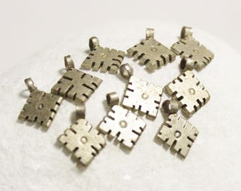 10 Handmade Ethiopian Cross Charms, Ethnic Pendants, African Jewelry Supplies (*AK34*)