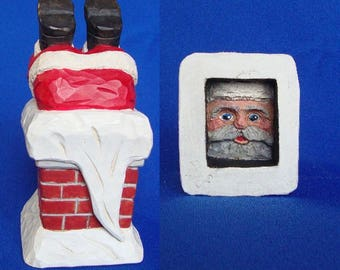 Woodcarving, Santa/Upside Down in Chimney, Original Hand Carved Wood Carving by Dennis Millner, Collectible Gift, Anniversary Gift