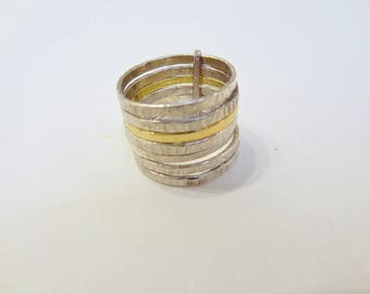 Ring in silver and gold yellow samainier solid.