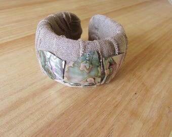 Fabric Wrapped Abalone Cuff