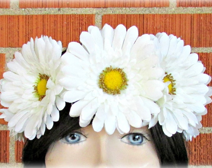 White Flower Crown, Floral Crown, Flower Halo, Flower Headband, Floral Headband, Daisy Crown, Flower Wreath, Wedding, Festivals