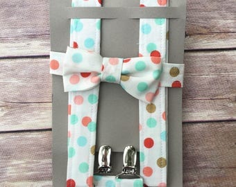 Mint, pink, gold polka dot Bowtie & Suspenders, Black Friday Special, Ready to Ship, Child Bow tie braces, Cyber Monday, Little boy Outfit