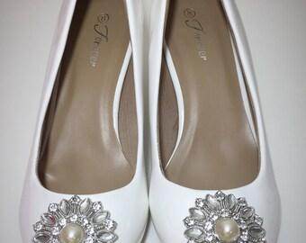 Rhinestone and Pearl Embellished White Wedding Wedges