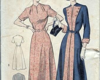 "Vintage 1950 Butterick 5167 Redingote and Dress Ensemble Sewing Pattern Size 12 Bust 30"""