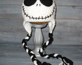 Adult Jack Skellington Nightmare Before Christmas crochet hat with braids. Tim Burton