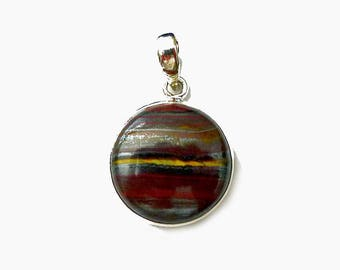 Sterling Silver Tiger Iron Pendant, Mugglestone Necklace Tiger Eye, Red Jasper, Hematite, Natural Gemstone .925 Silver - SE-GSP372X