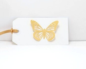 Butterfly Gift Tags, Butterfly Tags, Gold and White Tags, Gold Gift Tags, Gold Butterfly Tag, Wedding Gift Tag, Handmade Tag, 3D Gift Tag, 6