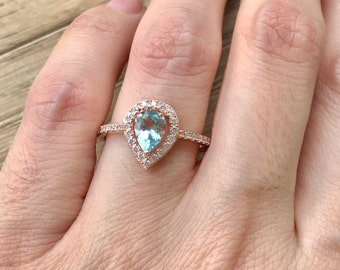 Rose Gold Aquamarine Ring- Aquamarine Engagement Ring- Halo Aquamarine Promise Ring- March Birthstone Ring- Blue Gemstone Silver Ring