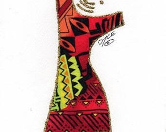 """Customizable, Ethnic, African American, Fabric Greeting Cards, Any occasion, """"DIVA"""" cards -  by PaintedThreads"""