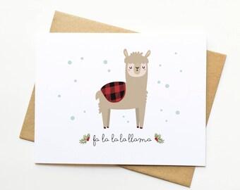 Llama Pun Funny Holiday Xmas Cute Illustration Card